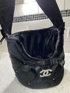 BLACK PET CARRIER BAG CHIHUAHUA PUPPY HAND MADE IN THE UK 🇬🇧