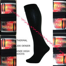 2x Women Ladies Thermal Knee High Winter Socks Fleece Lined Black 200 Denier 4-7