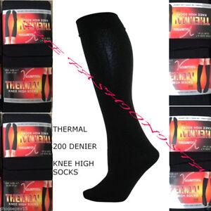 2X Women Ladies Thermal Knee High Winter Socks Fleece Lined Black 200 Denier 4-7