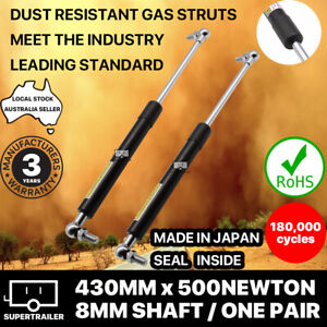 2x gas struts 430mm 500N (8mm shaft) CAMPER TRAILER CARAVAN CANOPY Toolbox STRUT