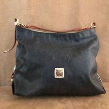 Dooney & Bourke Gretta Coated Canvas Leather Hobo black denim large bag solid