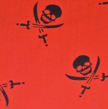 RED in policotone con Lrg NERO TESCHI SPADE tessuto BANDANA PIRATA P / METRO