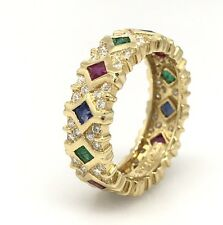 Diamond, Emerald, Ruby, Sapphire Eternity Band in 18k Yellow Gold -- HM1717