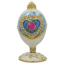 Rose in Crystal Valentine's Heart Russian Royal Inspired Easter Egg 3.25 Inches