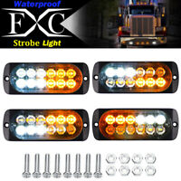 4x 12-LED Car Truck Strobe Emergency Warning Light Deck Dash Grill White/ Amber