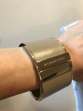BURBERRY GRAY GOLD LEATHER CUFF BANGLE BRACELET ITALY - NEW