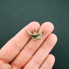 6 Origami Crane Charms Antique Bronze Tone 3D Paper Bird - BC375