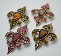 Fleur de lis pins brooches gold ruby topaz quartz, Mens Womens Vintage jewelry