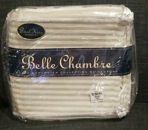 """BELLE CHAMBRE quilted Bed Skirt King Dual tan beige 14"""" drop NEW IN PACKAGE"""