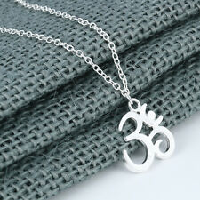 Gold Silver Om Necklace Yoga Charm For Ladies Women Meditation Vintage Jewelry