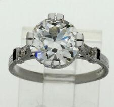 Antique platinum diamond sapphire engagement ring VS2 2.98CT Euro round 3.35CTW