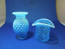 Lot of 2 Vintage Blue Unmarked Knobbed Pressed Glass Small Vase and Top Hat