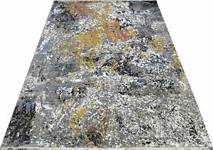 Indian 9x12 275x365 Hand Knotted Modern Oxidized Wool Art Silk Carpet Area Rug