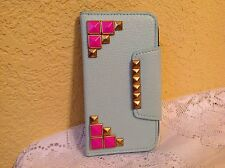SAMSUNG GALAXY S3 LEATHER CELL PHONE CASE AQUAMARINE WALLET FLIP STAND COVER