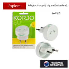 Korjo Travel Adaptor from Australia/NZ to Europe Italy, Switzerland - 2 Pin
