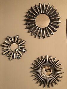 3-pcs Mirror wall Decoration, Round Gray, Small, Midium And Large