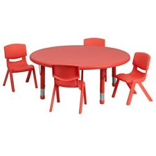 "Flash 45"" Round Adjust Red Plastic Activity Table Set w/4 School Stack Chairs"
