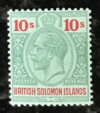 British Solomon Islands George V 1914 10/- green & red/green m/m SG 37 (Cat £95)