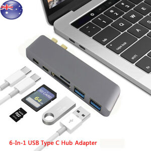 6 in 1 Type C USB C Hub Adapter Dual Dongle USB 3.0 Port  for MacBook Pro