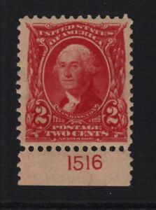1903 Washington 2c carmine Sc 301 MHRs OG plate number single, Hebert CV $40