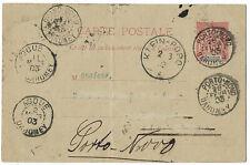 Dahomey France 1903 stationery card Porto Novo to Klein Popo redirected
