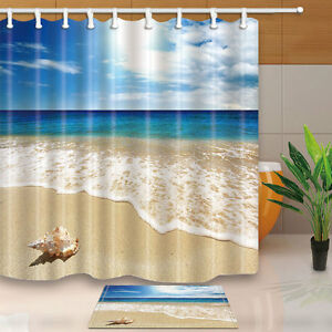 Ocean Seaside Beach Bubble Shells Bathroom Fabric Shower Curtain Set & 12 Hooks
