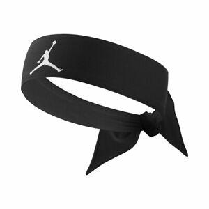 Nike Air Jordan Head Tie Headband Black Basketball Sweatband Mens 100% Genuine