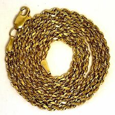 "14k yellow gold 20 1/2"" rope chain necklace 9.5g estate vintage antique ladies"