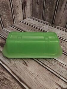 Tablecraft Criss-Cross Jadeite Butter Dish Cracker Barrel