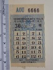 "Hong Kong ""The KMB Co. (1933) Ltd."" 30c Ticket Lucky No. ""AOU 6666"" Rare"