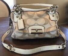 Coach Authentic Handbag Kristin Signature Double Zip Satchel Cream & Khaki 22305