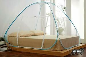 King Size Mosquito Net for Double Bed with Repair Kit 7 * 7 Feet Blue  UK