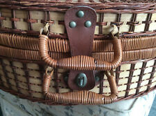 Vintage Antique Picnic Hamper Set Wicker Style Leather Straps