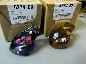 Lot of (2) Fenton Glass Handpainted Frogs, Violet + Golden Amber, new in boxes