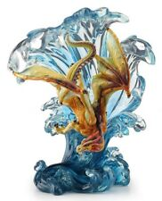 "8.25"" Dragon Riding Wave Statue Sculpture Fantasy Decor Figure Figurine"