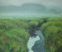 Fog Mist Marsh Impressionism wetlands Landscape Art Oil Painting Realism Mire