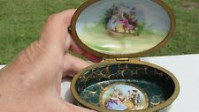 ANTIQUE PORCELAIN VANITY HINGED TRINKET BOX TRANSFER & HAND PAINTED