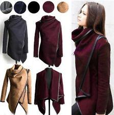 Damen Winterjacke Asymmetrisch Parka Jacke Wollmantel Trench Coat Poncho Outwear
