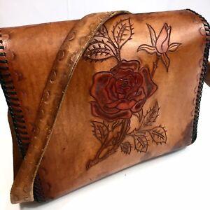 Vtg 60 70's Hand TOOLED Carved Leather RED ROSE Floral BoHo Bag Western Purse