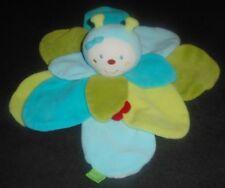 Doudou Plat Abeille Papillon Coccinelle Les Diabolos Pétales Bleu Vert Babysun