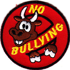 """NO BULLYING"" - Iron On Embroidered Applique Patch /Words - Bully"