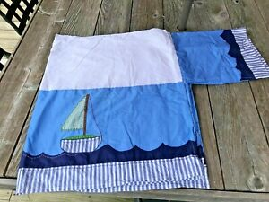 Pottery Barn Kids Crib DUST RUFFLE Sailboat Nautical Boats Blue Nursery Bedding