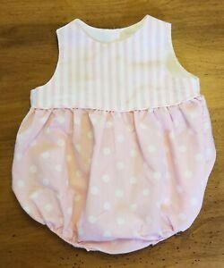 Vintage Bryan Romper One Piece Pink White Baby Size 3-6 Months