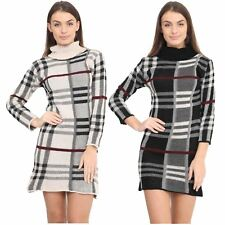 New Womens Long Sleeve Polo Neck Knitted Tartan Check Midi Bodycon Jumper Dress