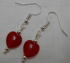 Unique handmade red ruby earrings silver plated heart shaped beads + stoppers