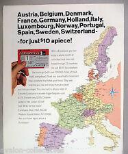 Eurail Pass PRINT AD - 1965 ~~ Eurailpass, Europass, Europe train