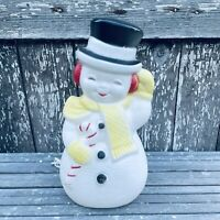 """VTG RARE 14"""" Poloron Blow Mold Snowman Yellow Scarf Mittens Lighted Table Top"""