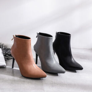 Ladies Clubwear Shoes Synthetic Leather High Heels Zip Ankle Boots AU Size b025