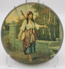 Rare Antique Glass Flue Cover Beautiful Gypsy with Instruments Reverse Paint