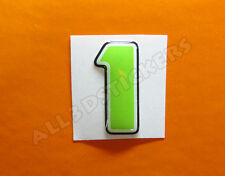 Pegatina Numero 1 3D Color Verde Tamaño 25mm